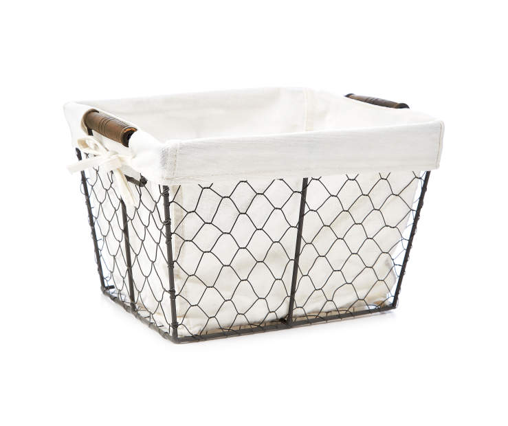 Small Gray Graphite Chicken Wire Storage Bin with Fabric Liner silo front