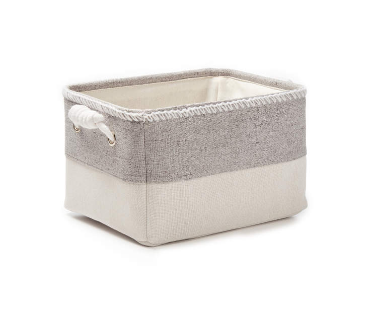 Small Gray Heather Canvas Storage Bin silo angled