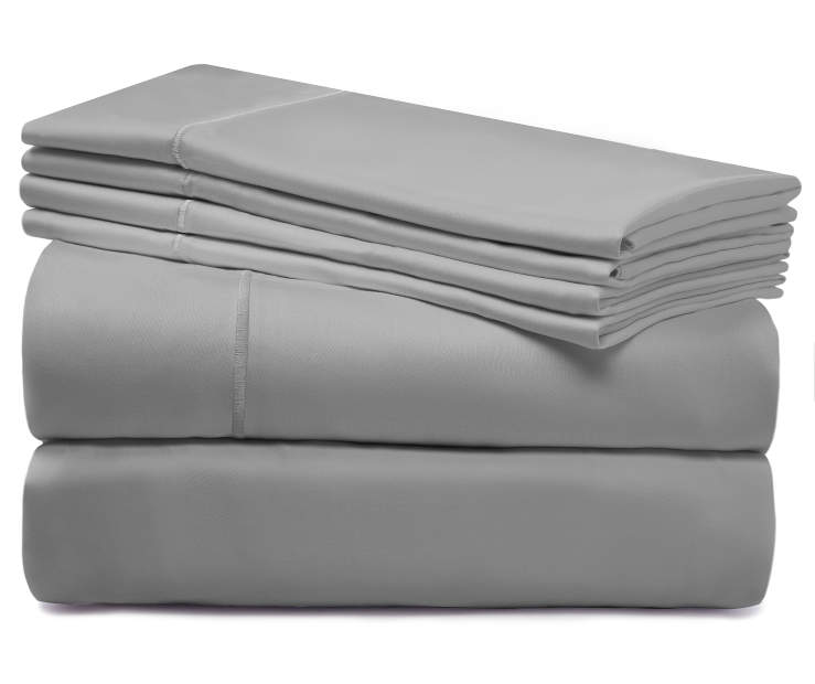 Smoke Gray 1220 Thread Count Queen 6 Piece Luxury Sheet Set silo front