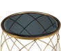 Smoked Glass Top and Brass Metal Accent Table silo top view