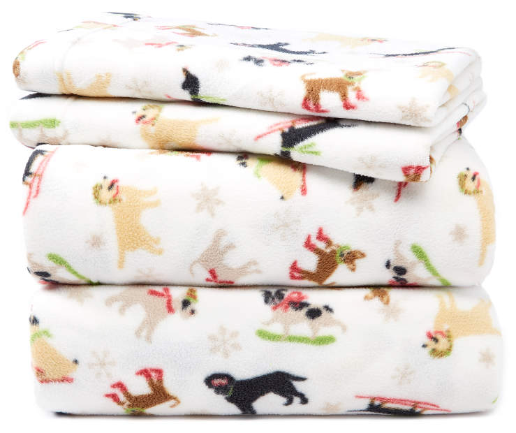 Snow Dogs Full 4-Piece Fleece Sheet Set Silo Image Folded and Stacked