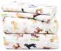 Snow Dogs Queen 4-Piece Fleece Sheet Set Silo Image Folded and Stacked