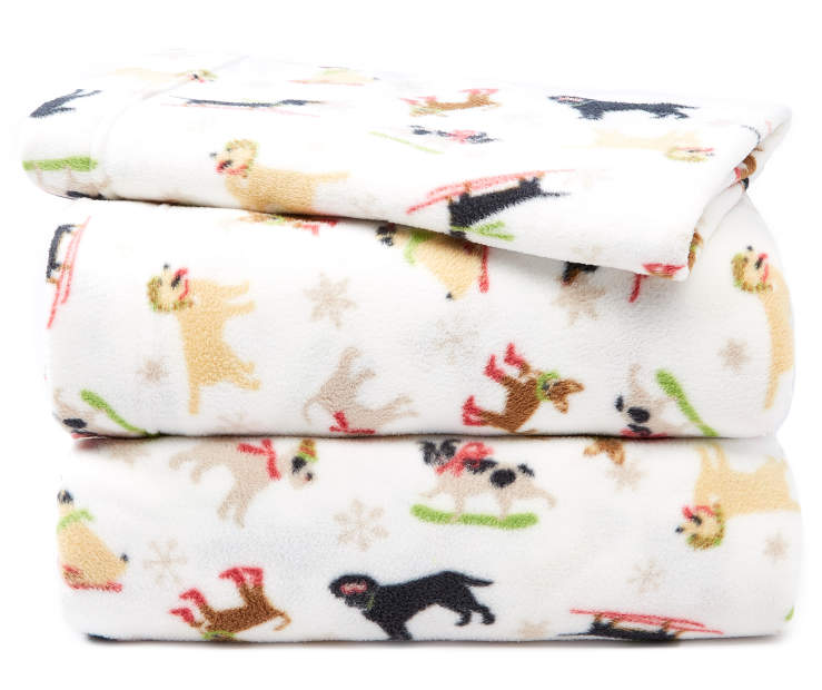 Snow Dogs Twin 3-Piece Fleece Sheet Set Silo Image Folded and Stacked