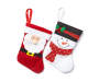 Snowman and Santa Mini Stockings 12 Pack showing each design with snowman stocking and santa stocking side by side overhead view silo image