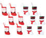 Snowman and Santa Mini Stockings 12 Pack showing entire set with snowman stocking and santa stocking side by side overhead view silo image
