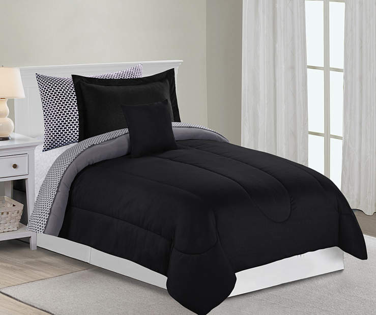 Twin Bedroom Set 6 Piece Solid Wood Pine: Just Home Just Home Solid Gray & Black Comforter Sets