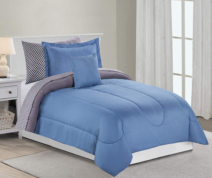 Solid Blue and Gray 6 Piece Twin Comforter Set On Bed Lifestyle Image
