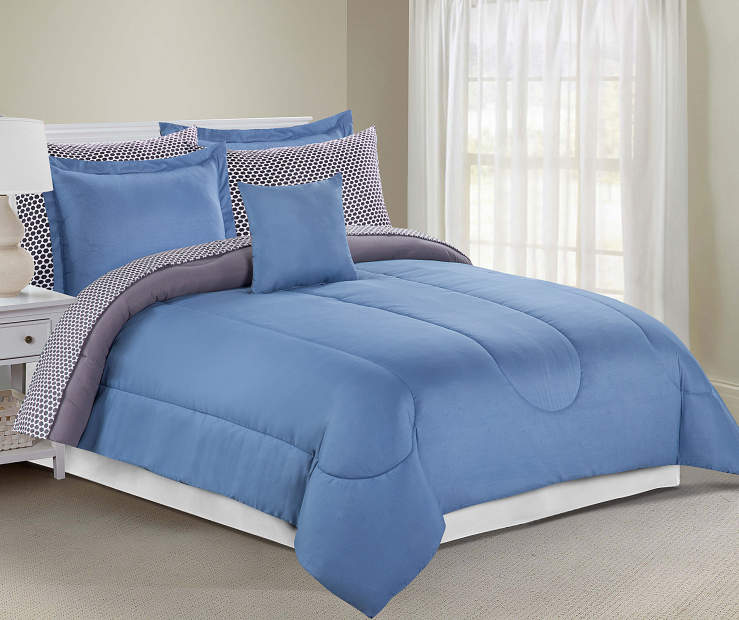 Solid Blue and Gray 8 Piece King Comforter Set On Bed Lifestyle Image