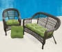 Solid Lime Verde 3 Piece Outdoor Settee and Chair Cushions Set lifestyle with patio set  prop