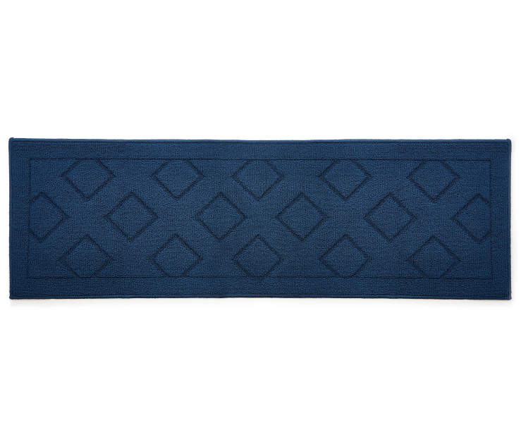 Solid Navy Diamond Accent Runner 1 feet 8 inch x 5 feet silo front