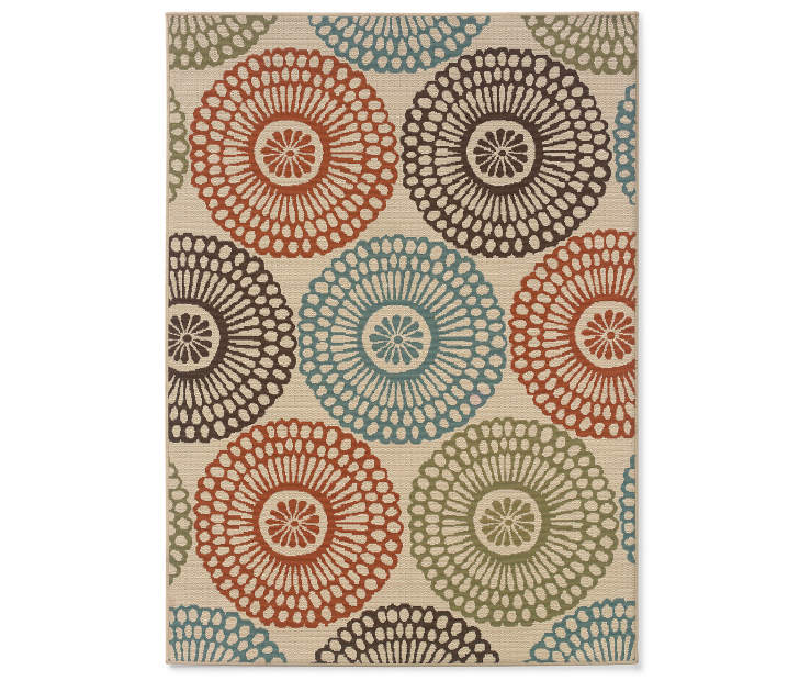 Somerville Beige Indoor Outdoor Area Rug 5 feet 6inch x 7 feet 6 inch silo front