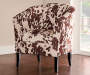 Spencer Cow Print Club Chair silo angled