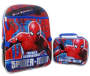 Spider-Man Backpack and Lunch Bag Shown Side by Side Front View silo Image