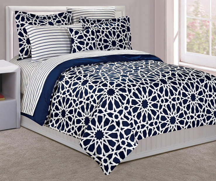 Just Home Spiral Navy Reversible Comforter Sets