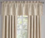 Stanford Floral Cafe Tan Blackout Curtain Panel 108 Inches Window View Close Up With Valance