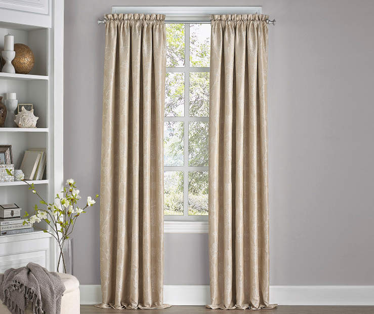 Stanford Floral Cafe Tan Blackout Curtain Panel 95 Inches Window View