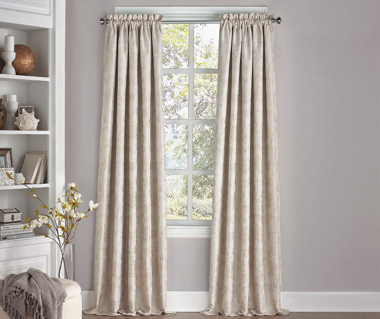 Stanford Floral Ivory Blackout Curtain Panel 95 Inches Window View