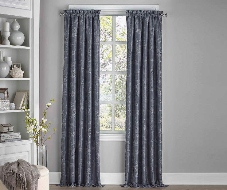 Stanford Floral Midnight Blackout Curtain Panel 84 Inches Window View