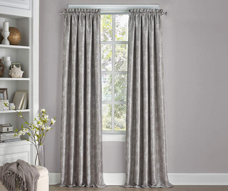 Stanford Floral Smoke Gray Blackout Curtain Panel 95 Inches Window View
