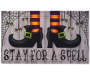 Stay For A Spell Witch Boots Welcome Outdoor Doormat 18 inch x 30 inch silo front