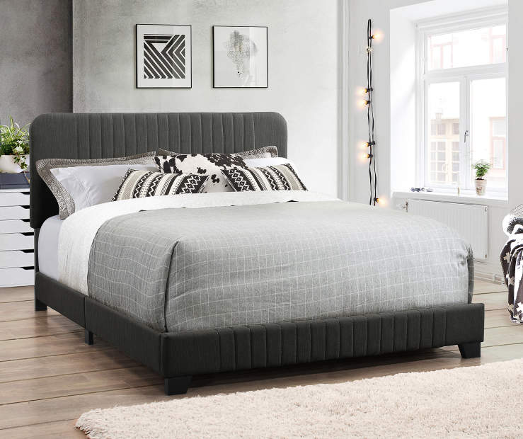 Steel Gray Mid Century Upholstered King Bed Frame bedroom setting