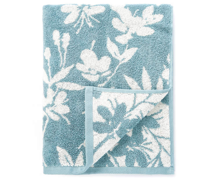 Stone Blue Flowers Double Jacquard Bath Towel silo front