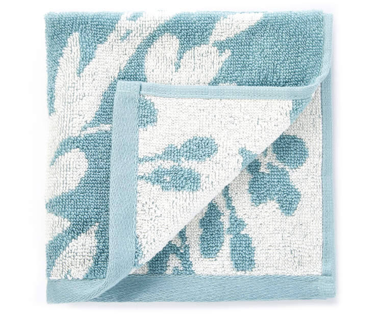 Stone Blue Flowers Double Jacquard Wash Cloth silo front