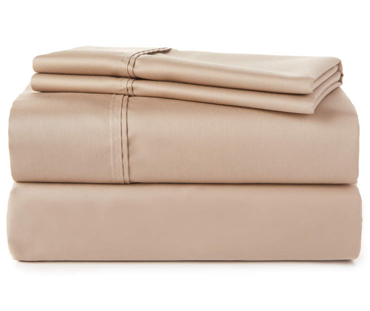 Stone Tan Ultimate Cooling 520 Thread Count King 4-Piece Sheet Set Silo Image Front VIew Sheets Stacked