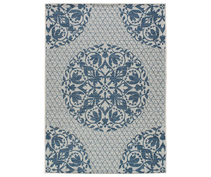 Stoneridge Blue Medallion Indoor Outdoor Area Rug 7ft 10in x 9ft 10in silo front