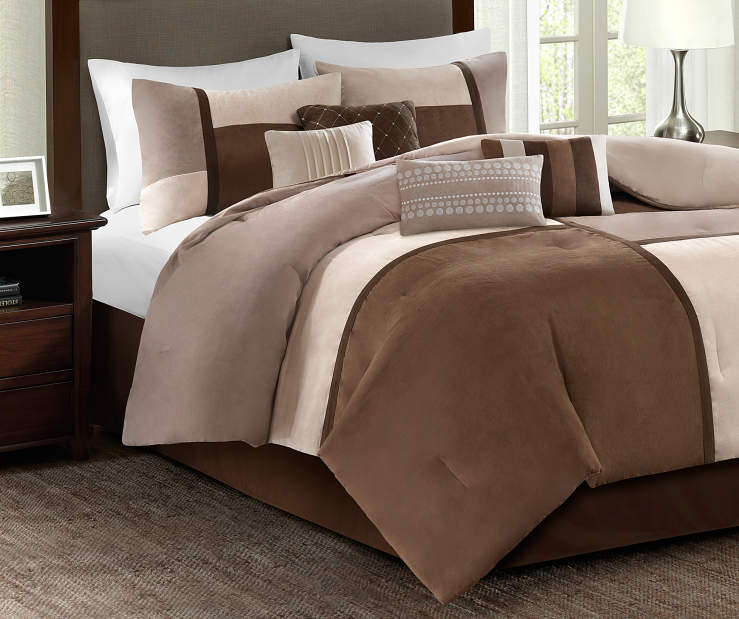 Sundance Neutrals of Brown Espresso and Cream 8 Piece Queen Comforter Set bedroom setting