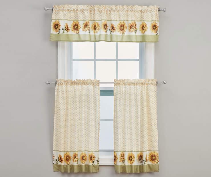 Sunflower Tier & Valance Set On Window