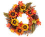 Sunflower and Pinecone Glitter Twig Wreath 22 inch silo front