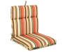 Sunset Ebony Tropical and Stripe Reversible Outdoor Chair Cushion Silo Angled View