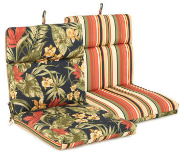 Sunset Ebony Tropical Stripe Reversible Outdoor Chair Cushion