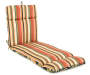 Sunset Ebony Tropical and Stripe Reversible Outdoor Chaise Cushion Silo Angled View