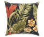 Sunset Ebony Tropical and Stripe Reversible Outdoor Throw Pillow 16 inches by 16 inches Silo Front View