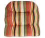 Sunset Ebony Tropical and Stripe Reversible Outdoor Wicker Chair Cushion Stripe Silo Image