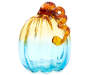 Tall Amber Teal Glass Pumpkin