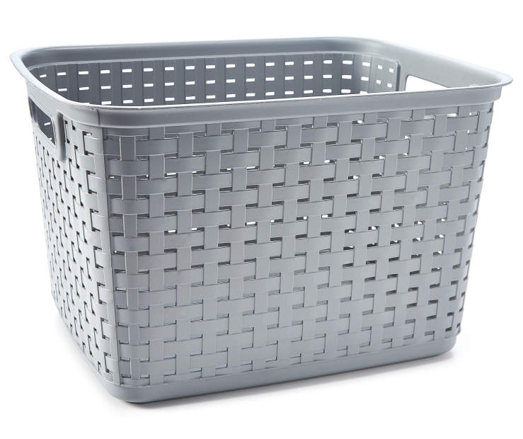 Tall Gray Weave Basket silo front
