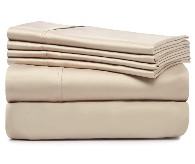 Tan 1220 Thread Count Queen 6 Piece Luxury Sheet Set silo front