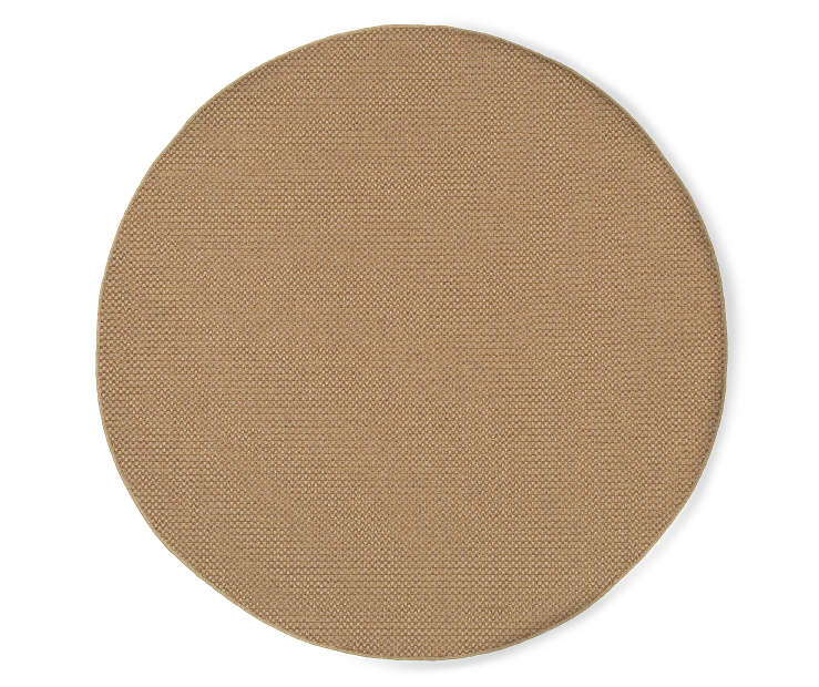 Tan Aiken Round Indoor Outdoor Area Rug 7 feet 10 inch silo front