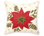 Tan Embroidered Poinsettia Throw Pillow 18 inch x 18 inch silo front