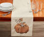 Tan Embroidered Pumpkin Table Runner 13 inch x 70 inch lifestyle