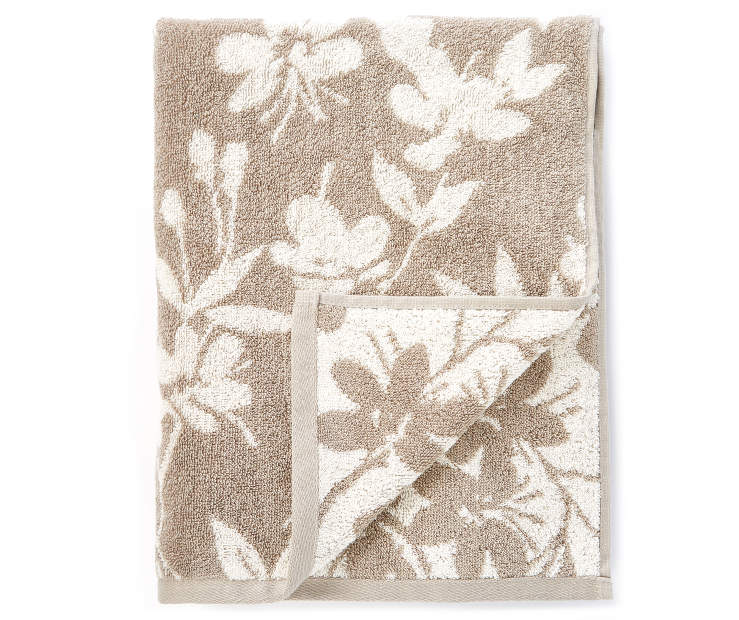 Tan Flowers Double Jacquard Bath Towel silo front