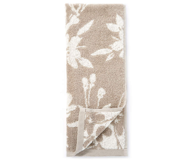 Tan Flowers Double Jacquard Hand Towel silo front