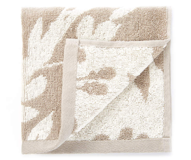 Tan Flowers Double Jacquard Wash Cloth silo front