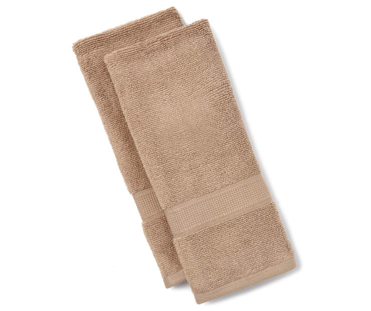 Tan Hand Towels 2 Pack Silo Image Folded Overhead View