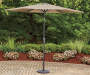 Tan Linen Market Patio Umbrella 9ft lifestyle