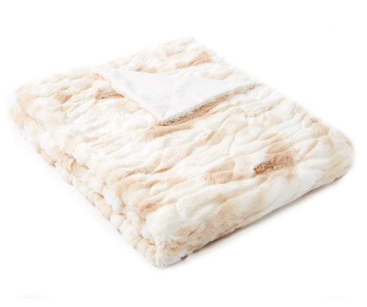 Tan Marble Faux Fur Luxe Throw silo front