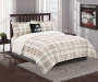 Tan Plaid and Sherpa Queen King 4 Piece Reversible Comforter Set lifestyle bedroom
